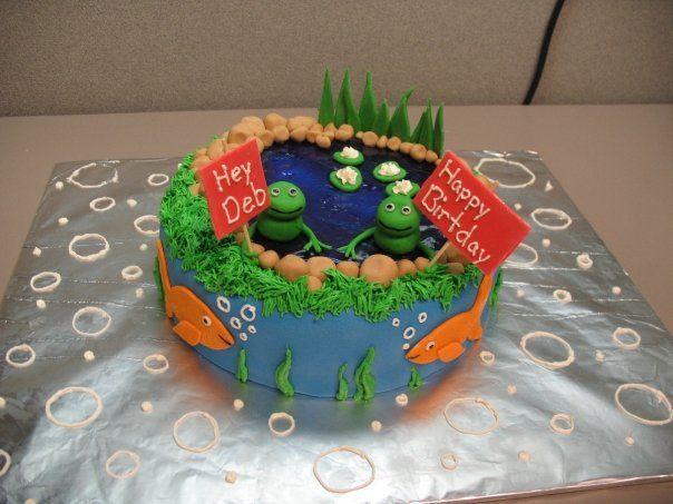 Magnificent Frog Pond Birthday Cake Eat Cake Frog Food City Cake Funny Birthday Cards Online Drosicarndamsfinfo