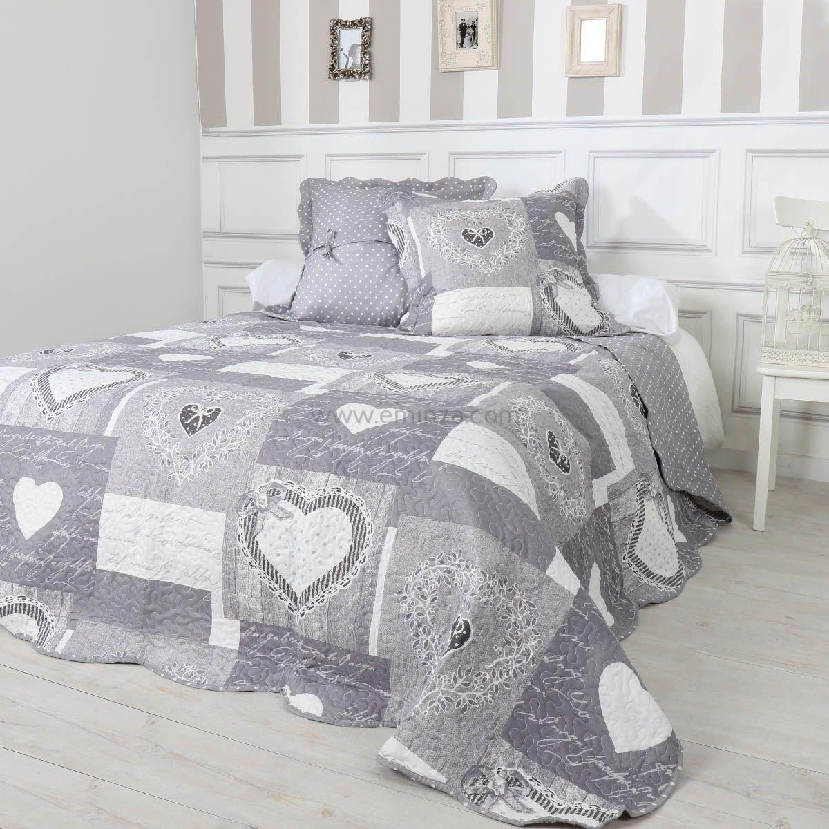 linge de maison linge de lit couvre lits & boutis Boutis et taies d'oreiller (260 x 240 cm) Veronina Gris | Couvre  linge de maison linge de lit couvre lits & boutis