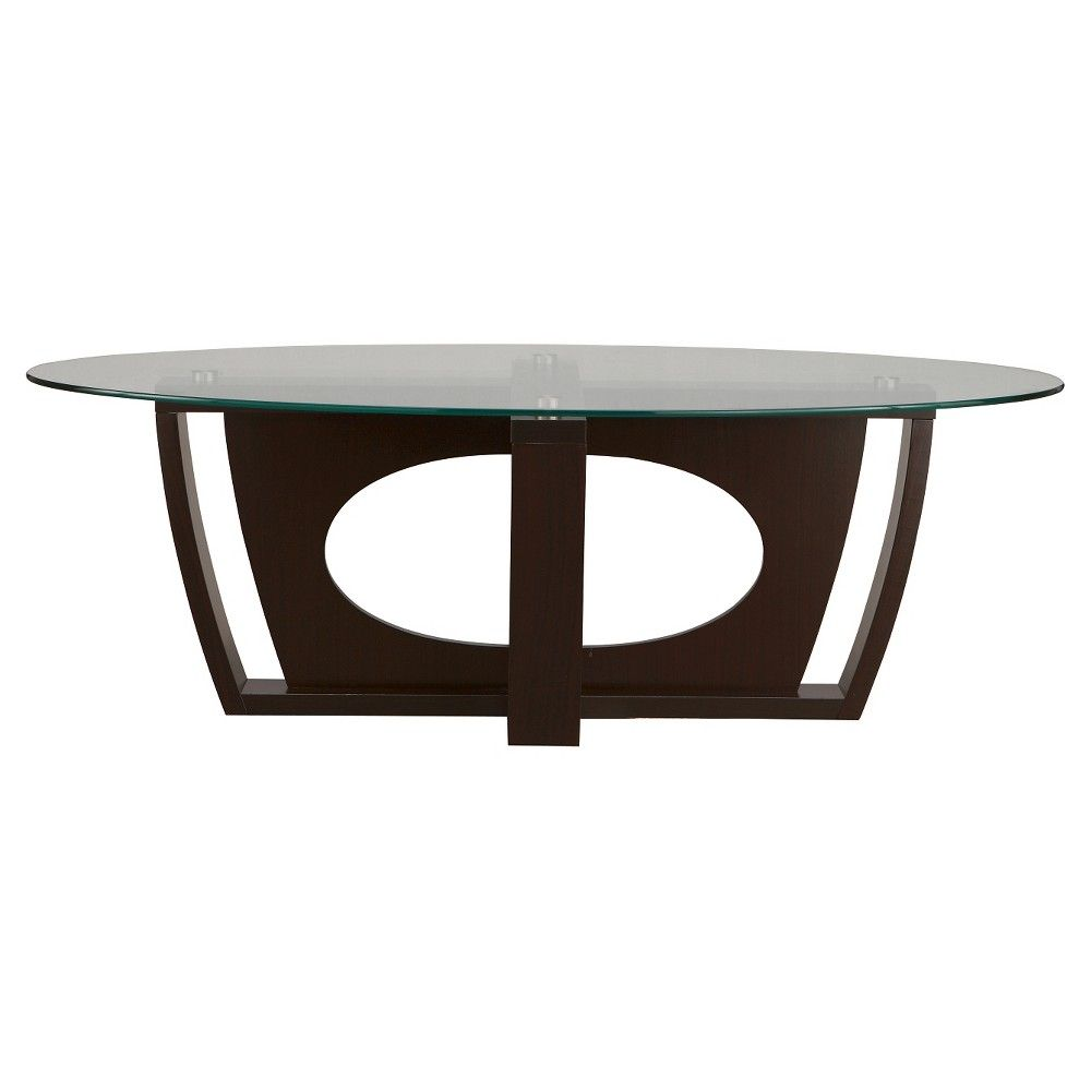- Benjy Modern Oval Glass Top Coffee Table Cappuccino - Furniture Of