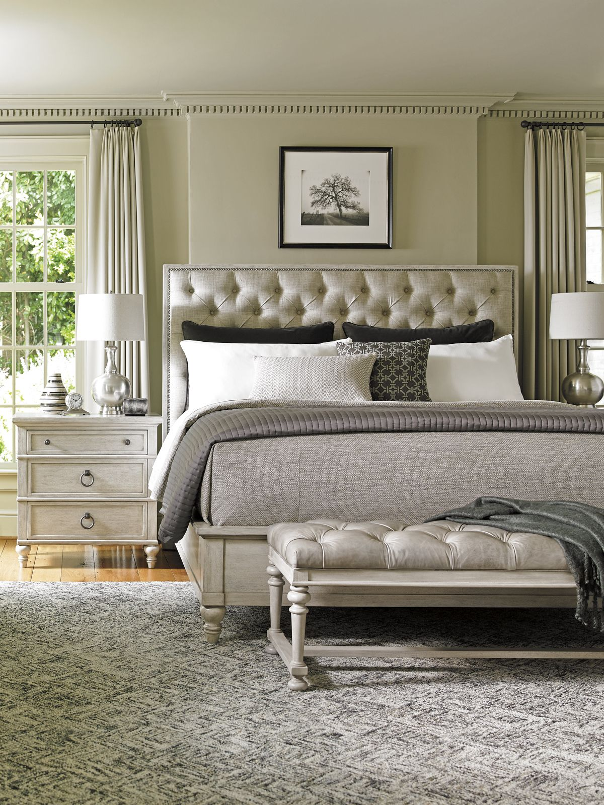Tufted Headboard with Leather bench by Lexington Furniture ...