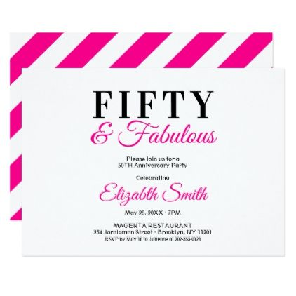 Fifty And Fabulous Fancy Hot Pink 50th Birthday Card Birthday