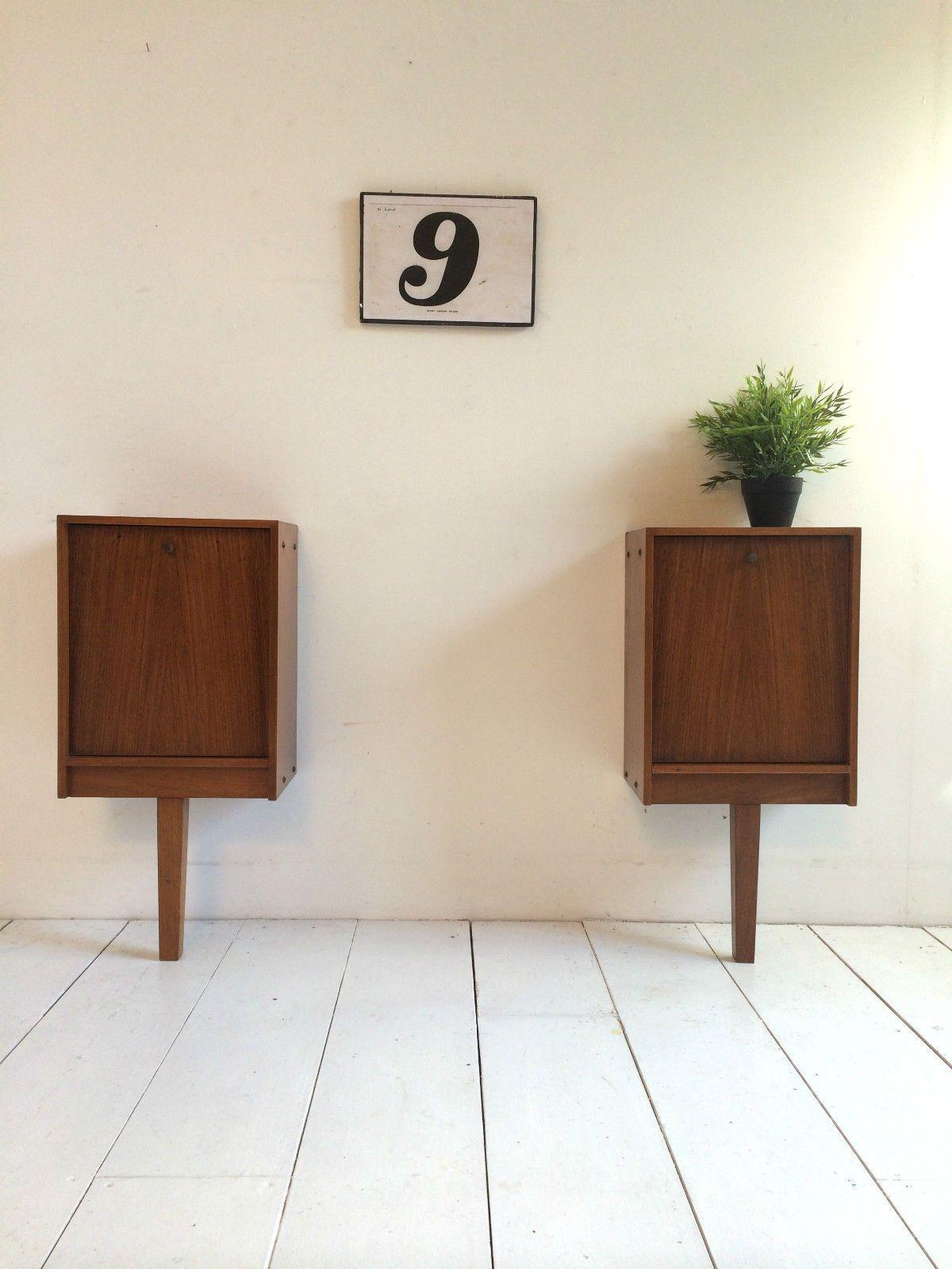 Vintage teak and rosewood bedside tables danish influence retro