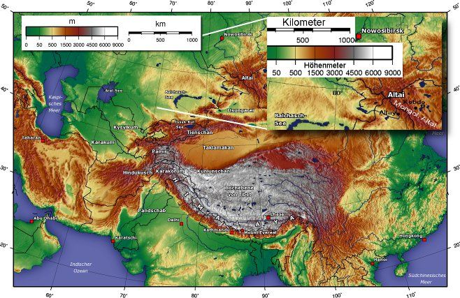 Map Of Asia Mountains.Topographic Map Of Central Asia Including The Altai Mountains