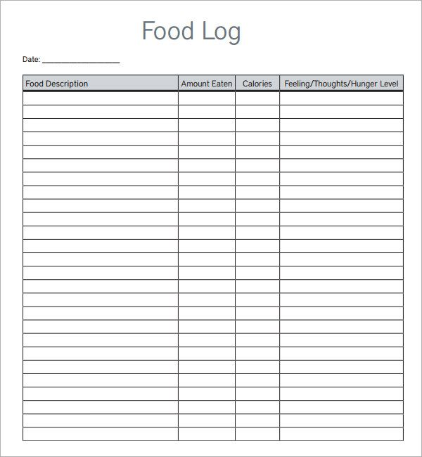Food Log Templates | Word, Excel & PDF Templates | www ...