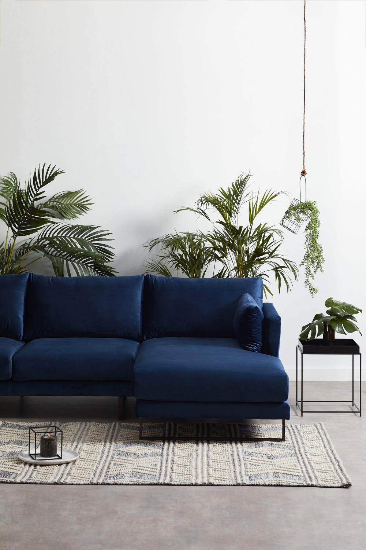 3 Seater Navy Velvet Zanda L Shaped Sofa In 2020 Navy Sofa Living Room L Shaped Sofa Velvet Sofa Living Room