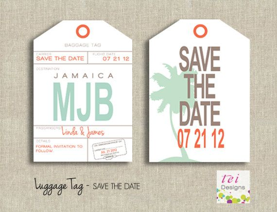 Save The Date Luggage Tag Pinterest Invitation Ideas Wedding - Luggage tag save the date template
