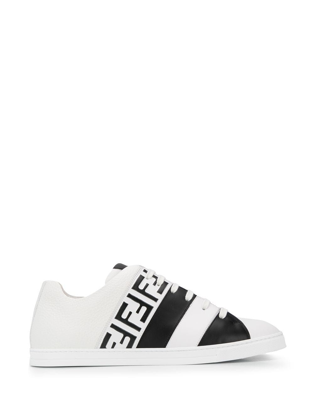 Fendi Logo-print Leather Sneakers In