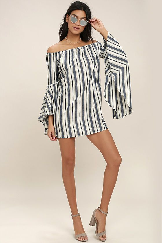 b8b1f3459ffd The Along the Tides Navy Blue Striped Off-the-Shoulder Dress was made for  sandy strolls at sunset! Navy blue