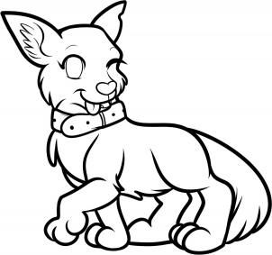 How To Draw An Anime Dog Anime Dog Step 13 Easy Animal Drawings Animal Coloring Pages Anime Animals