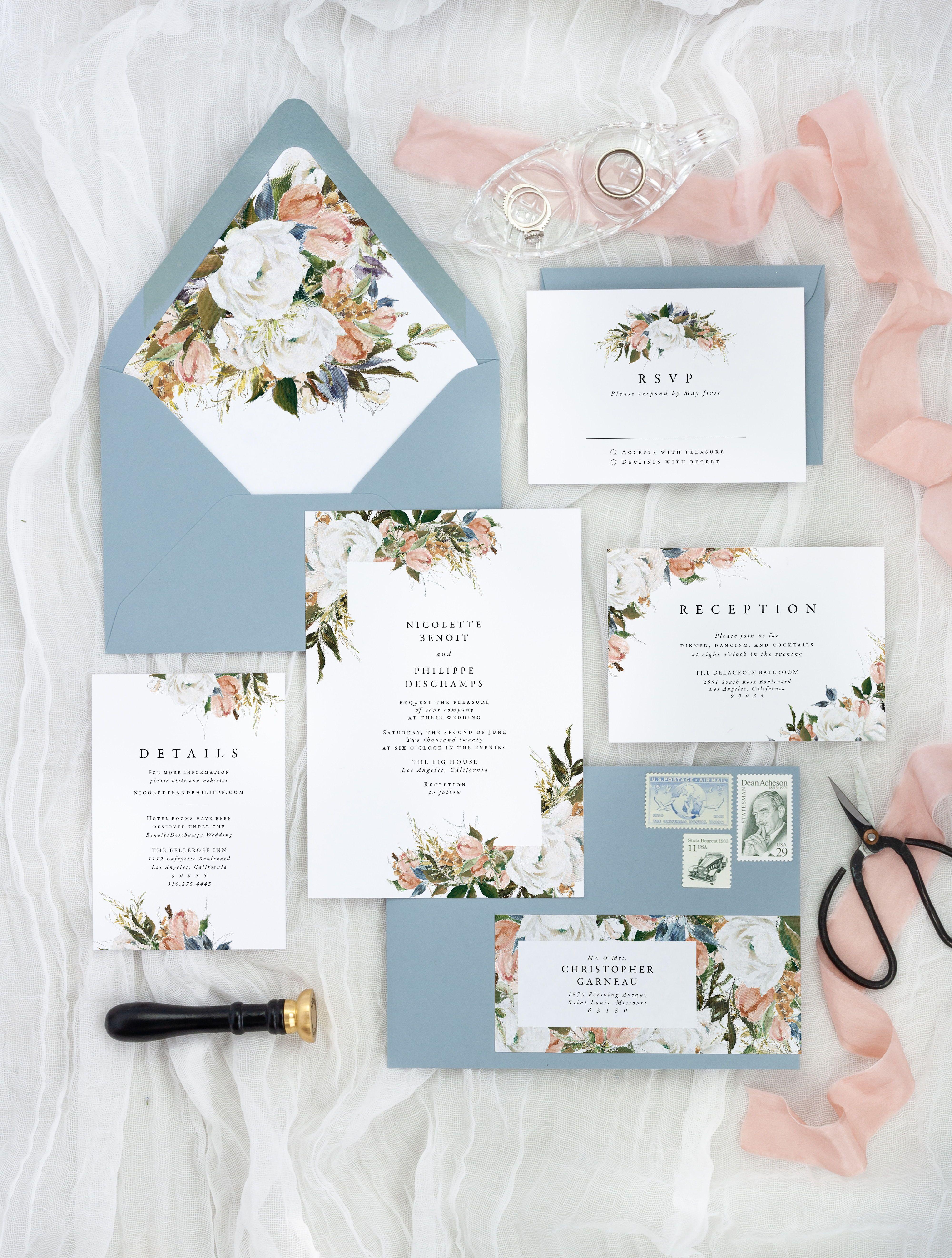 Floral Wedding Invitation Set Rustic Wedding Invites Romantic Wedding Invitat In 2020 Wedding Invitations Romantic Wedding Invitation Sets Floral Wedding Invitations