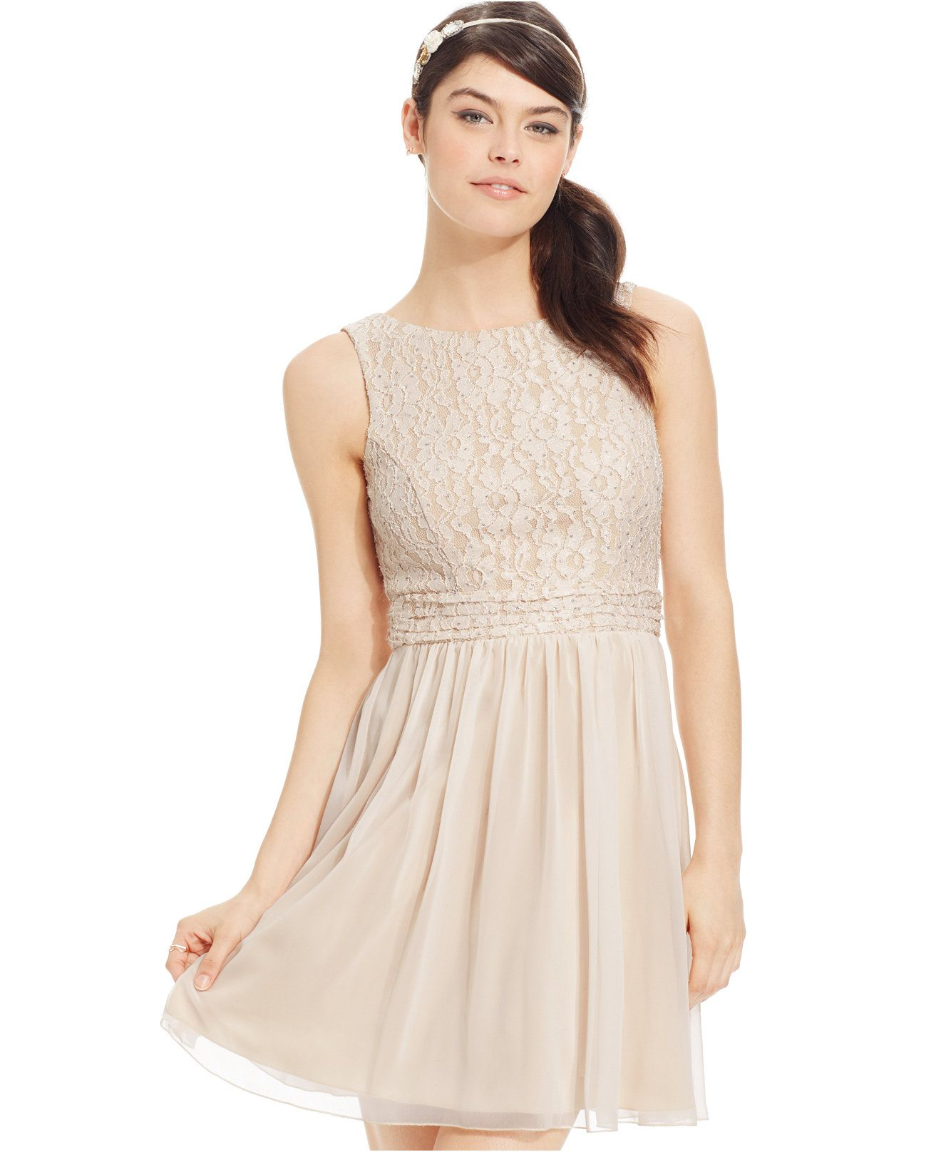 Speechless Juniors' Glitter Lace Party Dress A Macy's Exclusive ...