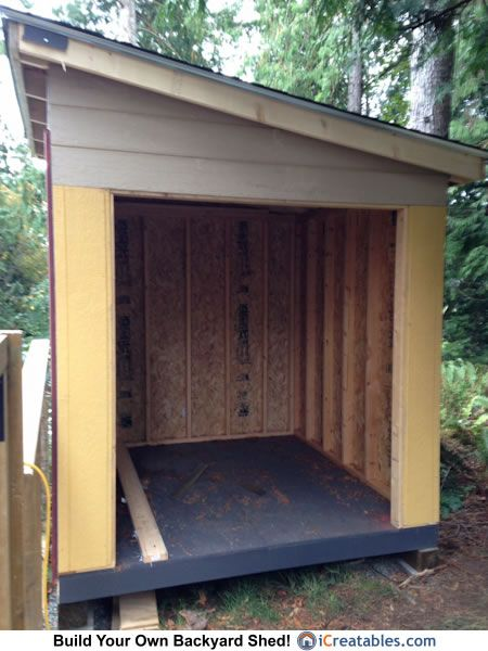 8x8 lean to shed door opening backyard design pinte for Lean to garage addition