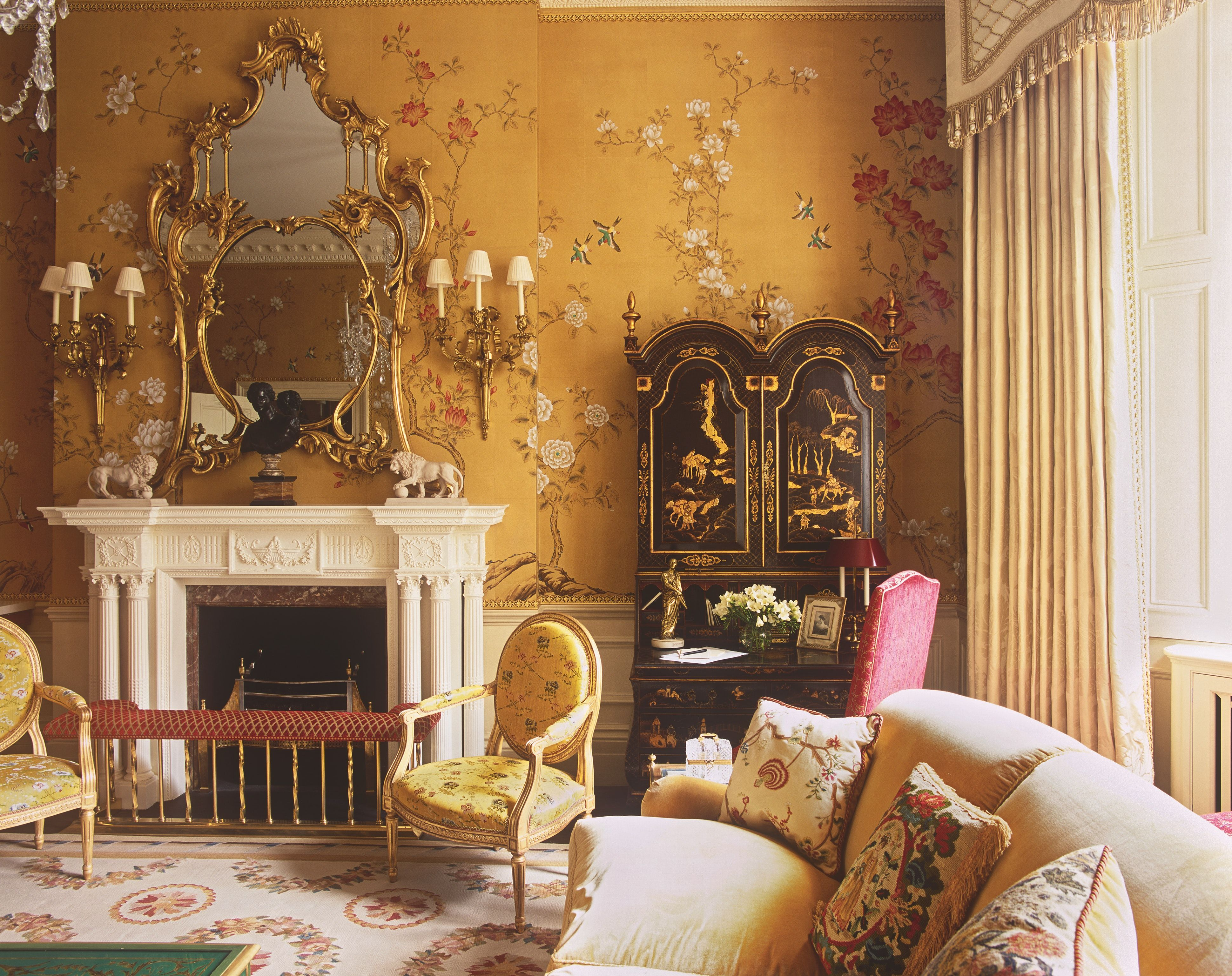 De Gournay Wallpaper In A Special Mustard Yellow Not A Fa