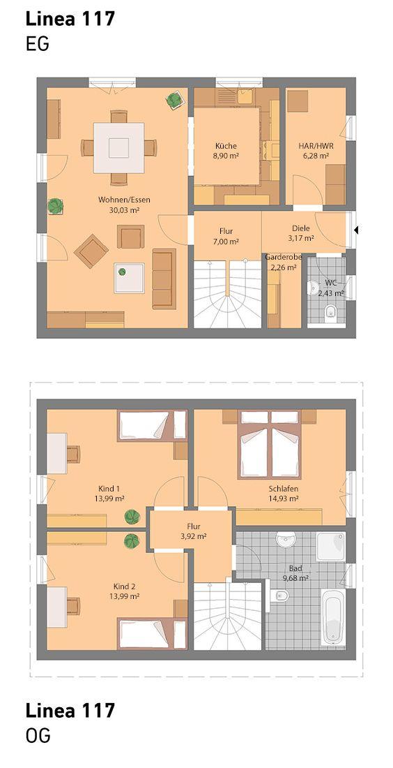 Grundriss ohne Keller (auch mit Keller möglich) Haus