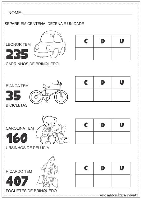 Centena Dezena Unidade Decompondo Números | Matemática - Números ...