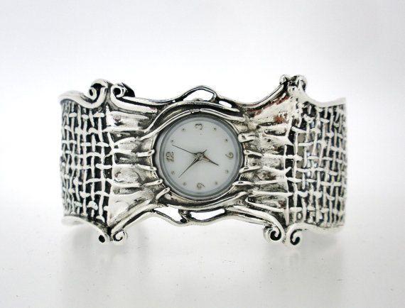 3172a4e08 Silver Cuff Watch Bracelet,Wide Watch Bracelet,Sterling Silver Watch ...