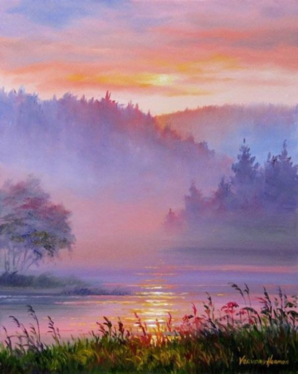 Misty Sunset Painting With Winding River 40 Easy Watercolor Ideas For Beginners