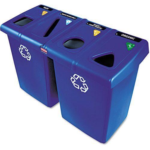 Glutton Recycling Station, Four-Stream, 92 Gal, Blue