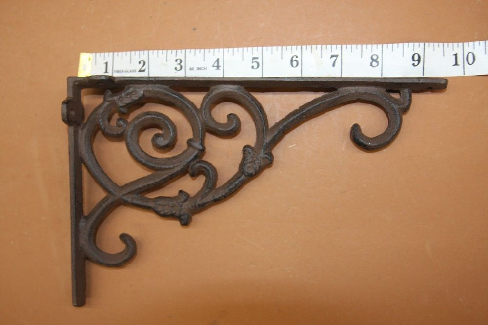 """6 LARGE BROWN 8/"""" SHELF BRACKETS WALL ANTIQUE-STYLE RUSTIC CAST IRON-SHELL DESIGN"""