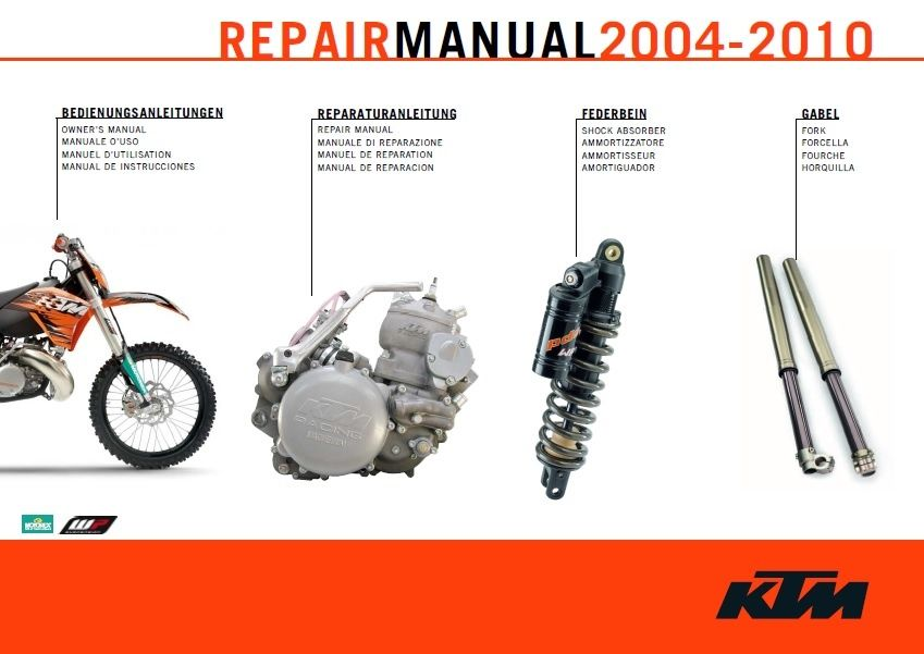 2004 2010 Ktm 250 300 Exc Mxc Sx Sxs Service Repair Manual Covers All Models Listed Above Ktm 250 Repair Ktm