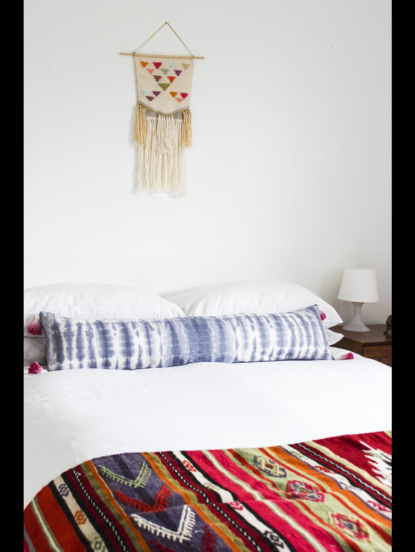 indigo extra long pillow, pink tassels | long pillows | pinterest