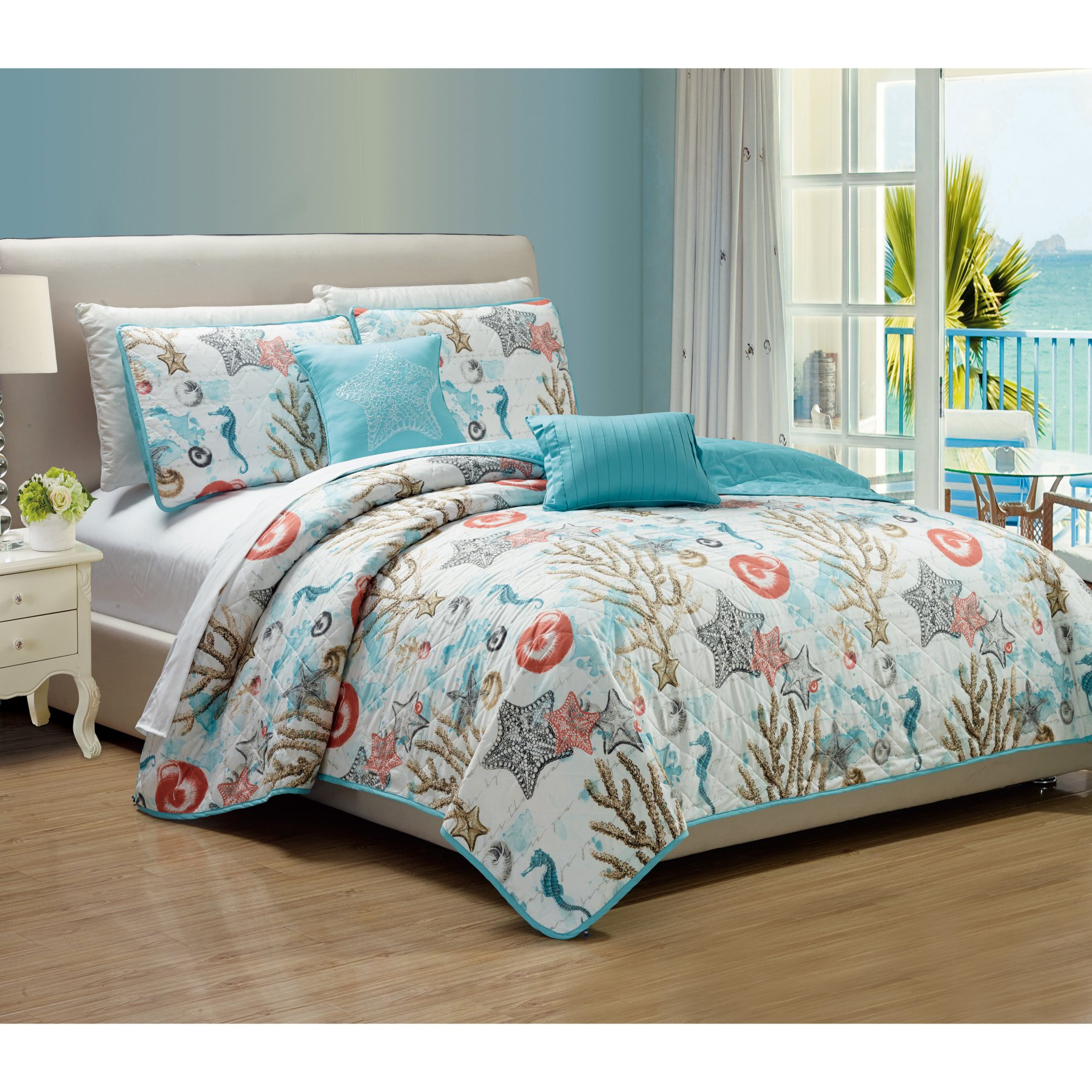 Coastal 5 Piece Quilt Set By Rt Designers Collection Coral