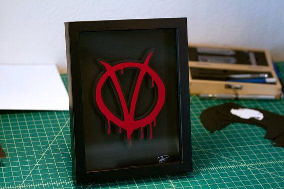 V for Vendetta symbol 5x7 handmade papercraft by willpigg on Etsy