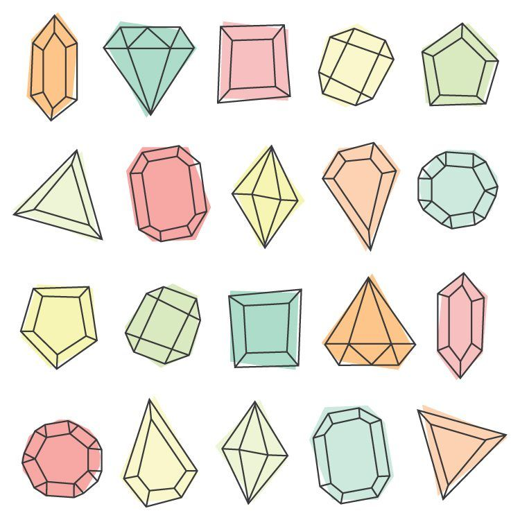 All 20 Gems Included In This Pack Gem Clipart Brings Modern Glam Style To Any Of Your Projects Twenty Cute Pngs Are Perfec Clip Art Freebies Clip Art Diy Gem