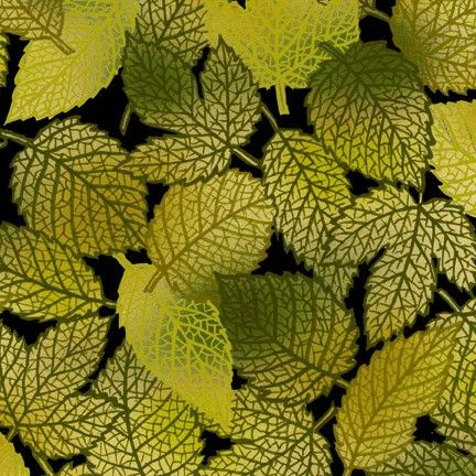 Green Leaves, Hallowgraphix II by In the Beginning Fabrics