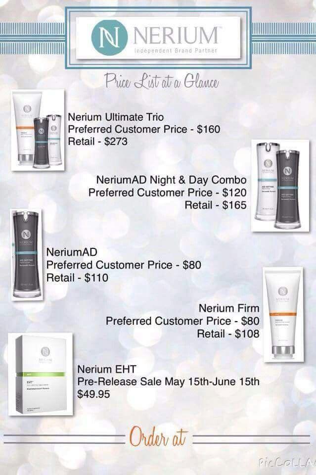 New price sheet | nerium | Nerium, Nerium international
