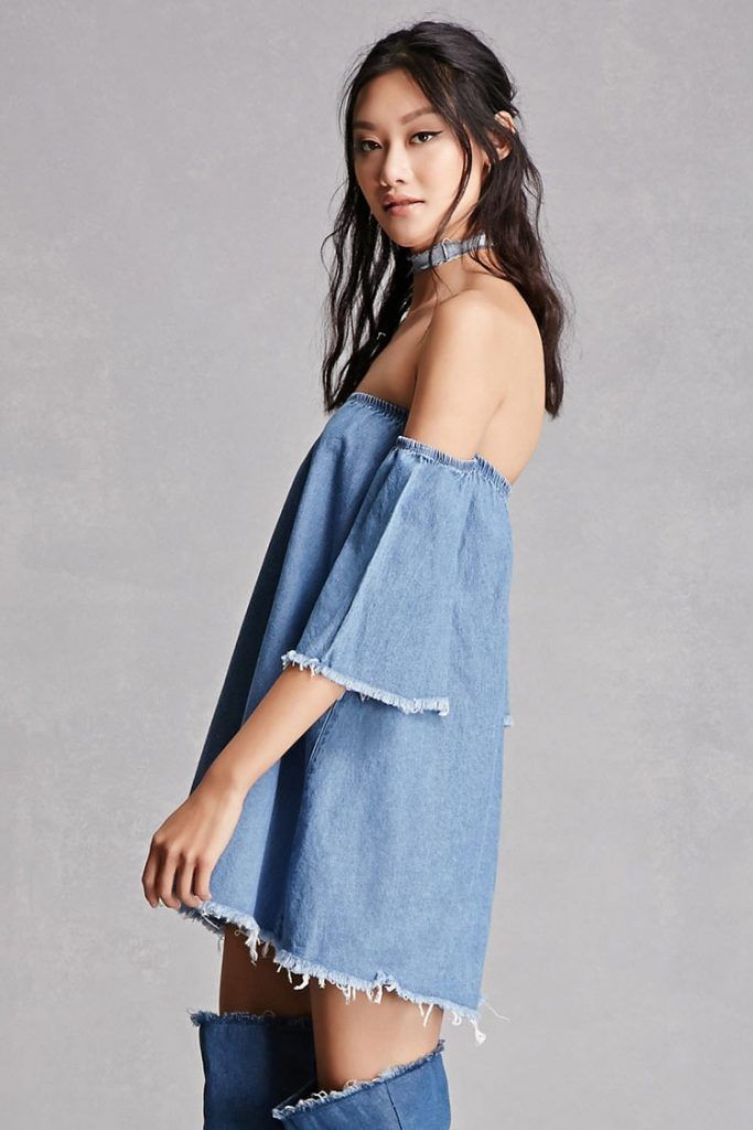 Bell-Sleeve Denim Mini Dress