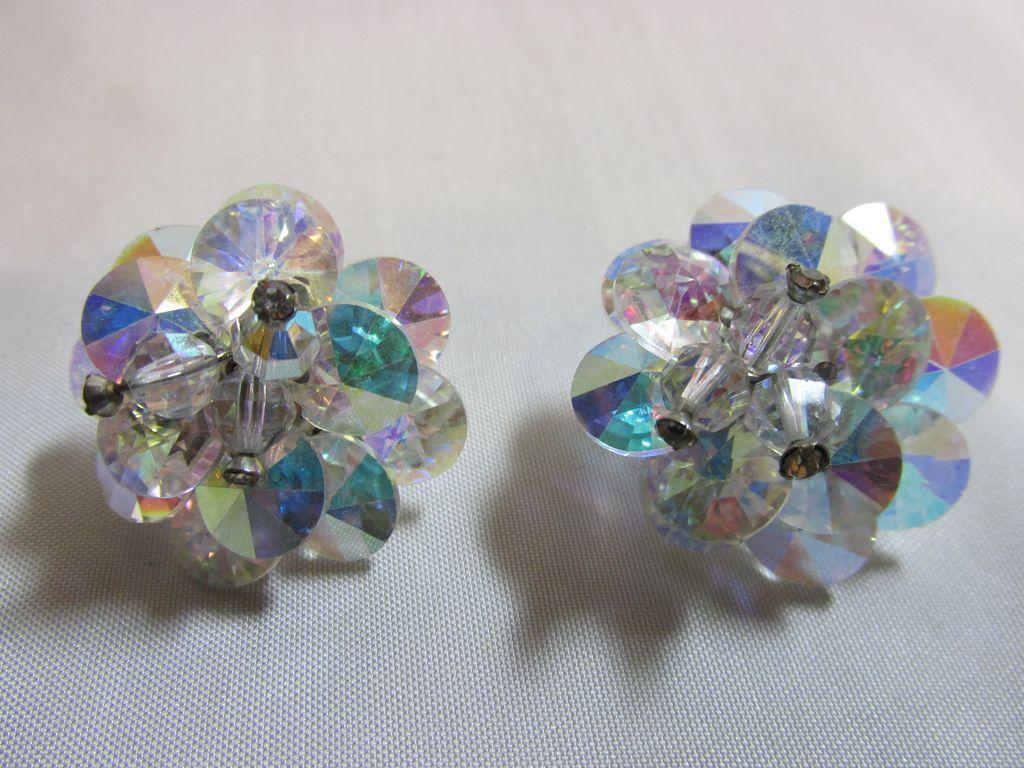 Vintage Signed Vendome Rivoli Aurora Borealis Crystal Earrings