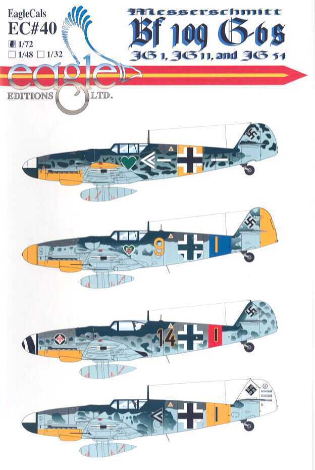 9 99 Eaglecals Decals 1 72 Messerschmitt Bf 109g 6 Fighters Jg 1 Jg 11 Jg 54 Ebay Collectibles Me 109 Perfiles