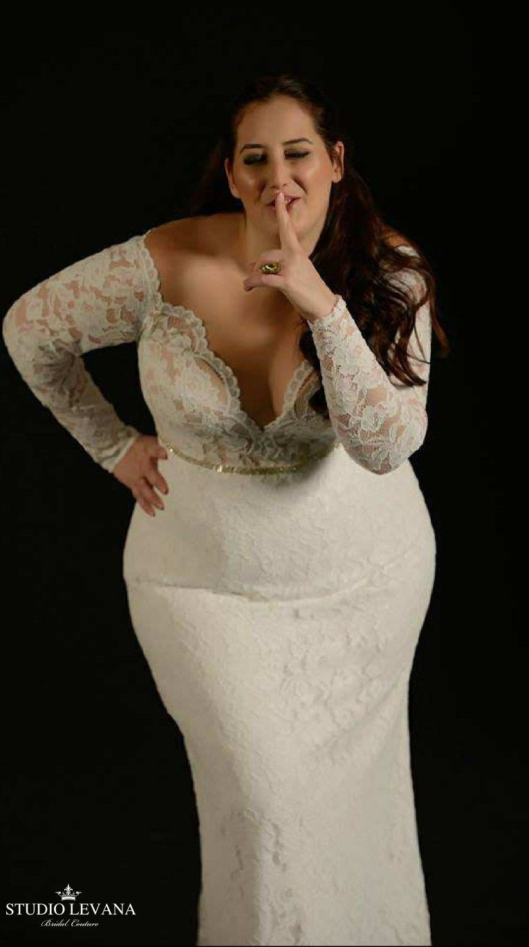 Plus size mermaid lace bridal gown with long sleeves reut studio
