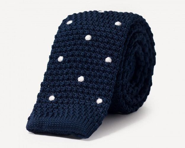 Knit Tie in Dotted Marine