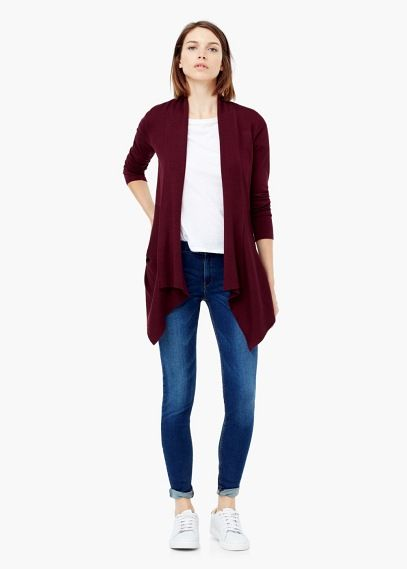 Waterfall cardigan | MANGO | Burgundy Work Wear | Pinterest ...