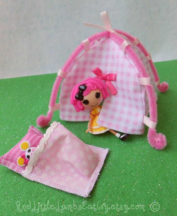 Lalaloopsy Mini - Tent and Sleeping Bag Playset - Pink Gingham & Lalaloopsy Mini - Tent and Sleeping Bag Playset - Pink Gingham ...