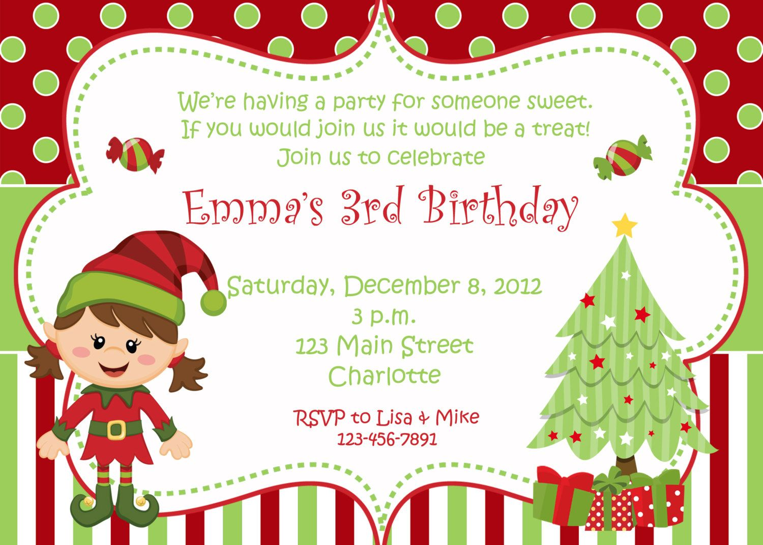 Christmas birthday party invitation christmas birthday christmas birthday party invitation christmas birthday invitation elf you print or i stopboris Image collections