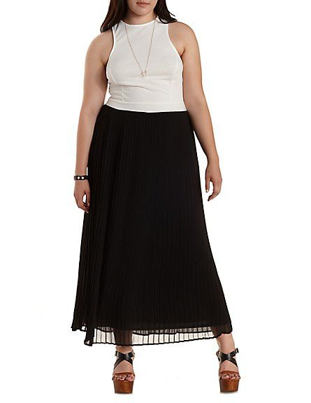 Plus Size Cross-Back Color Block Maxi Dress: Charlotte Russe #plus #charlotterusseplus #charlotte0to24