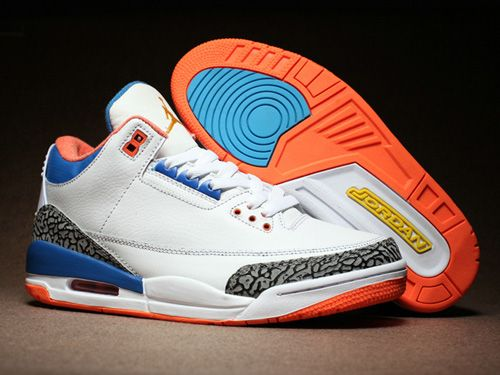 meet 7a860 45d86 Air Jordan 3 Retro III New York Knicks Men Shoes White Yellow Blue