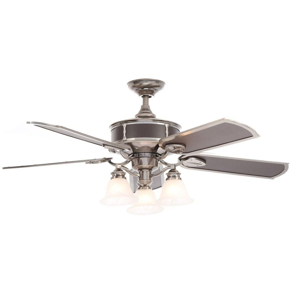Hampton Bay Preston 52 In Indoor Vintage Pewter Ceiling Fan With Light Kit And Remote Control