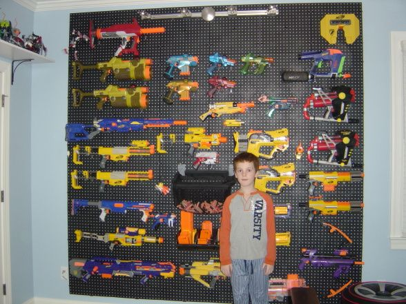 Nerf gun storage. $50 worth of materials, a couple of hours of work,