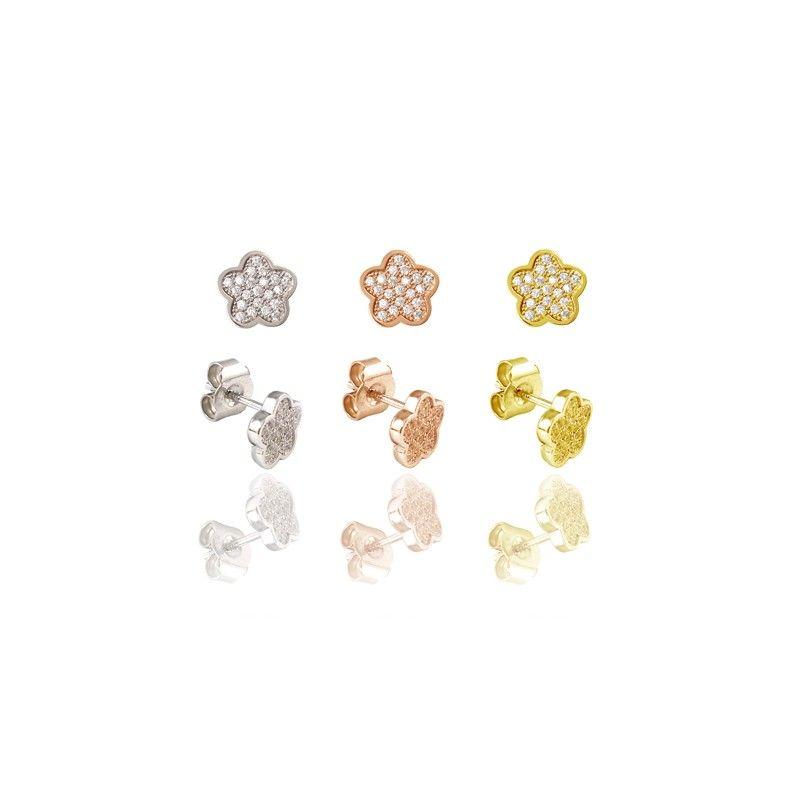 Pendientes de plata de primera ley con forma de flor con circonitas microengastadas y cierre de presion y color a elegir rodio, oro amarillo u oro rosa