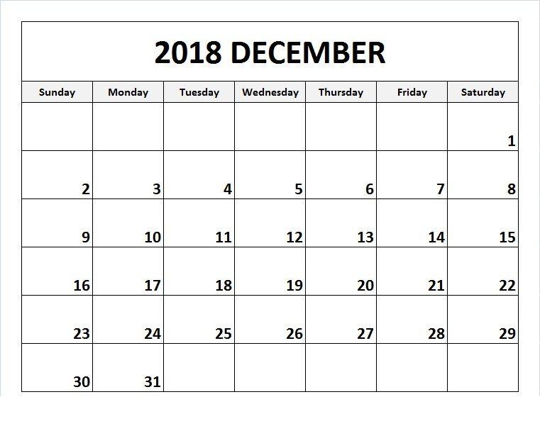 December 2018 Calendar Printable Template #DecemberCalendar