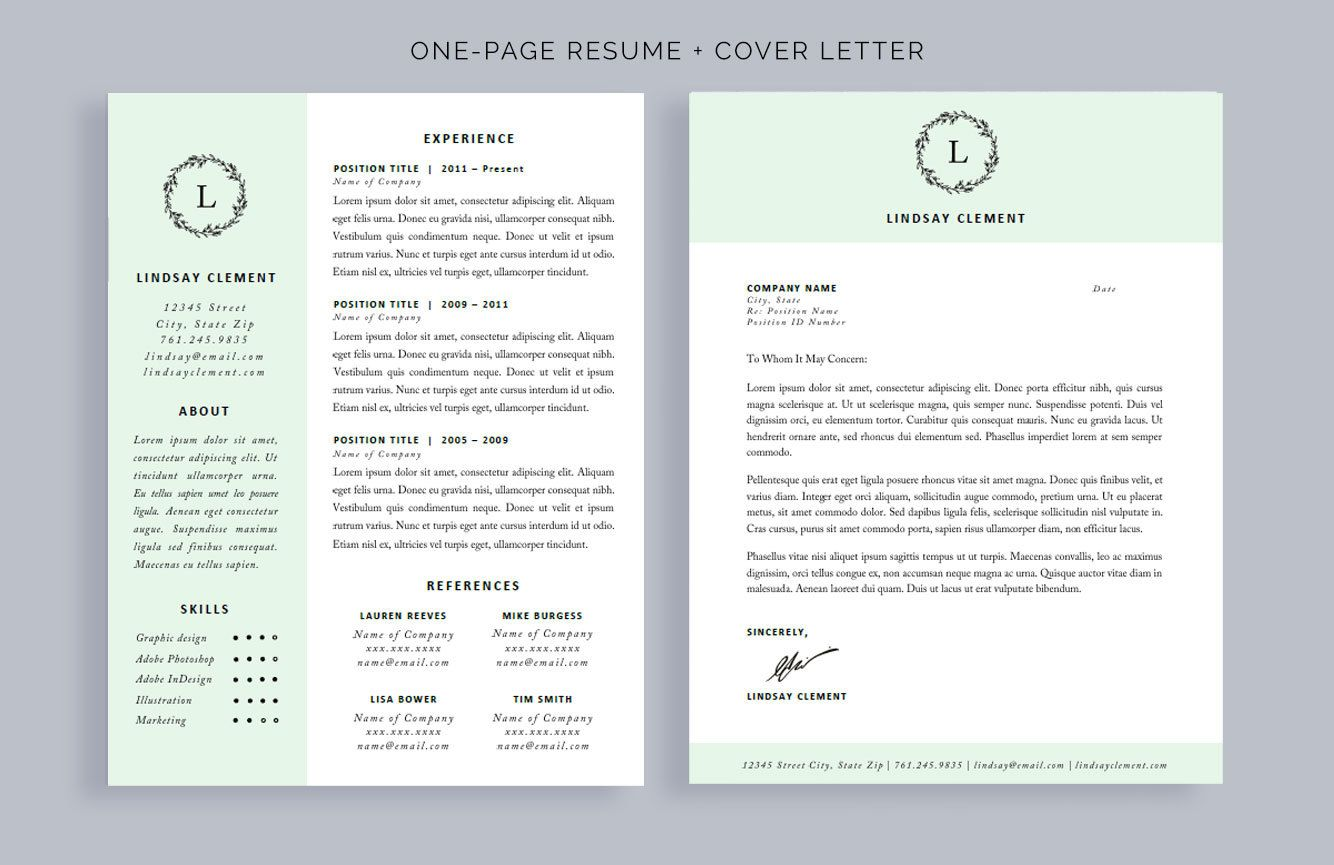 Professional Resume Template and Cover Letter for Word and ...