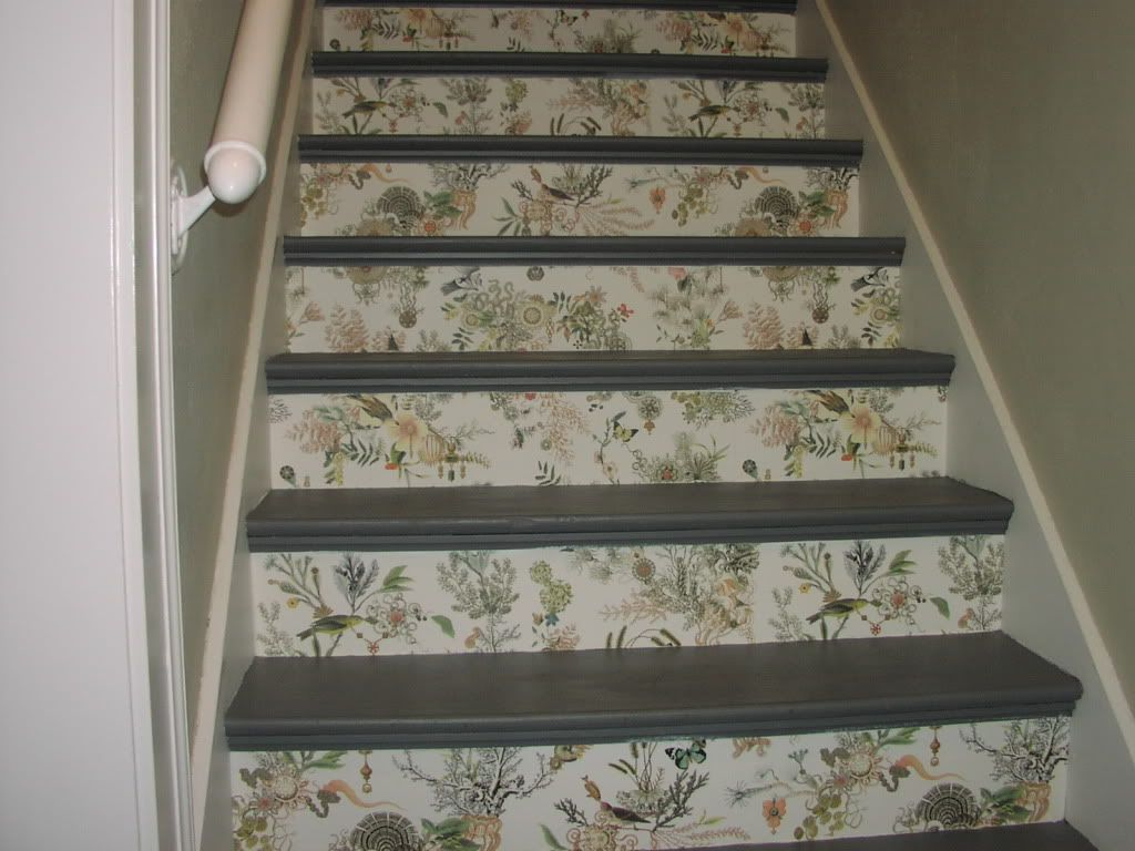 Decorating stair risers wallpapered stair risers part - How to wallpaper stairs and landing ...