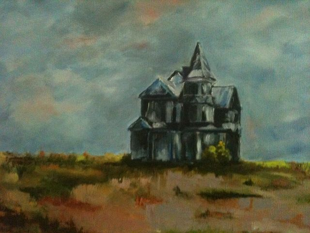 Texas Past.  An old house I painted  located outside Belton Texas