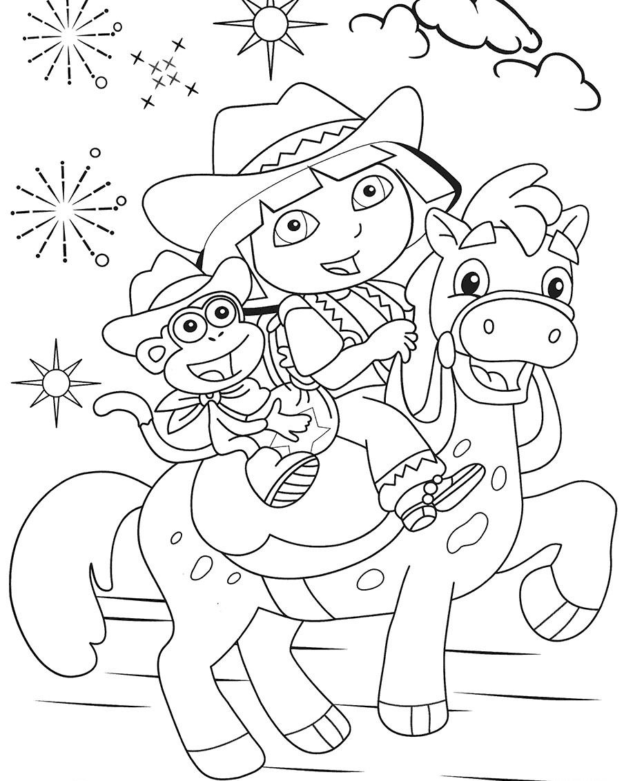 Painting pages dora - I Have Download Dora And Boots Are Ride The Horse Coloring For Kids