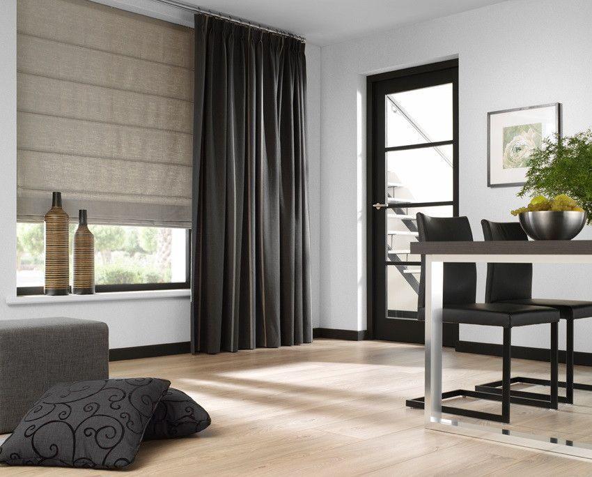 artelux gordijnen poseidon bruin grijs hout naturel zwart interieur modern raambekleding vouwgordijn gordijnen beige antraciet