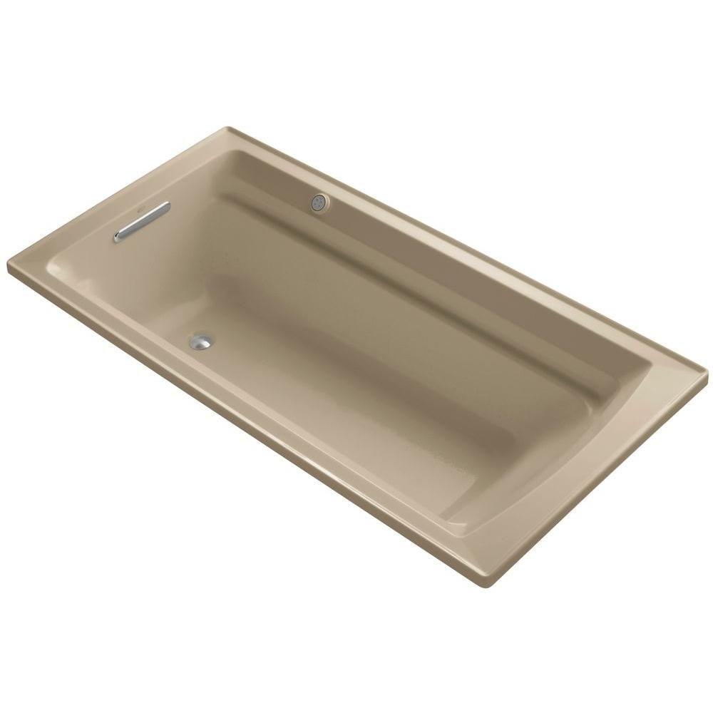 KOHLER Archer 6 ft. Acrylic Rectangular Drop-in Whirlpool Bathtub in ...